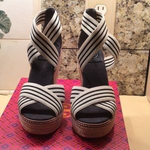 Tory Burch black and white stripes espadrille